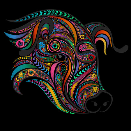 Vector pig from a variety of patterns. Symbol of the New Year 2019