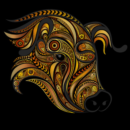 A pig with decorative patterns on a dark background Stock Illustratie
