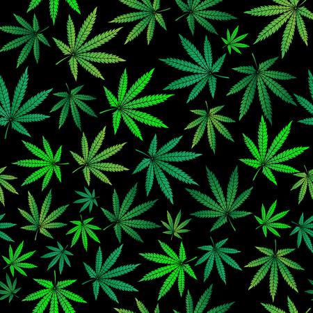 Seamless pattern with green marijuana sheets Stock Illustratie