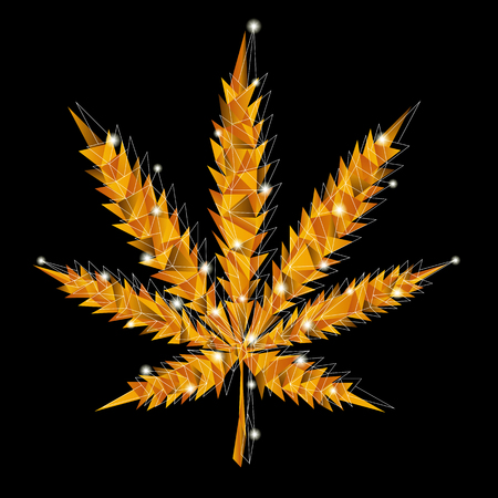Golden marijuana vector leaf in low-poly style