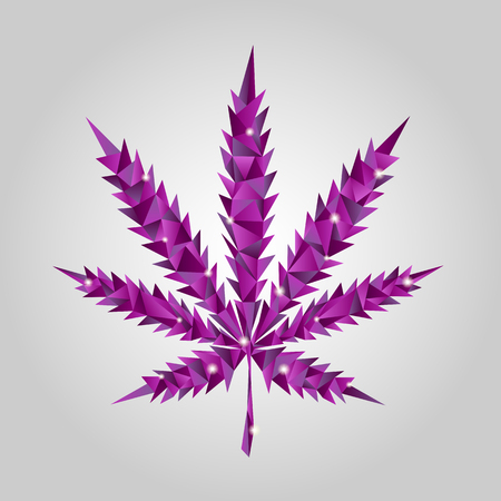 Vector glowing purple cannabis in low-poly style. Origami Stock Illustratie