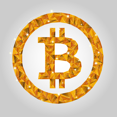 Crypto currency. Gold coin bitcoin in low-poly style