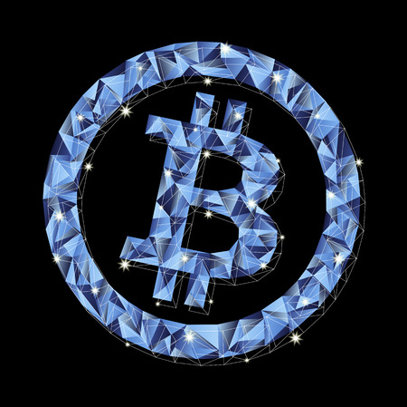 Crypto currency. Glowing vector bitcoin in blue shades on a dark background