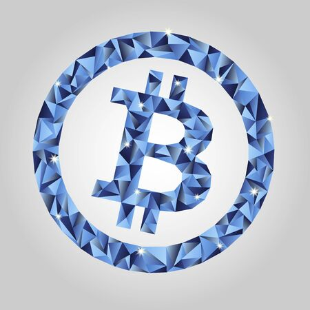 A Vector bitcoin in low-poly style. Symbol of crypto currency Stock Illustratie