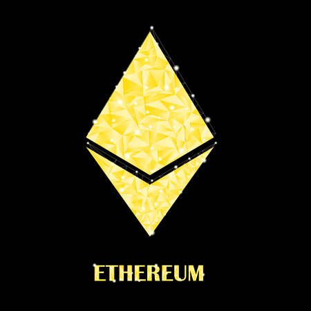 Symbol of crypto currency. Golden ethereum with glow