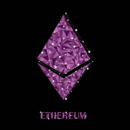 Crypto currency in low-poly style. Vector symbol of the ethereum