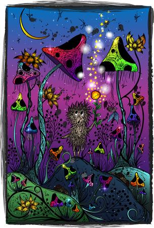 Vector illustration. Hedgehog in the magic forest Stock Illustratie