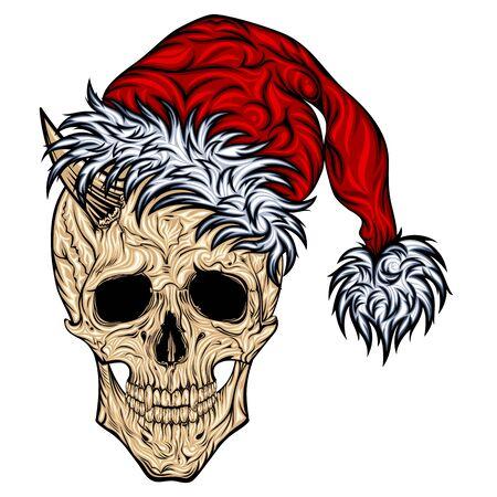 Skull of Santa Claus with horns and a red cap Illusztráció