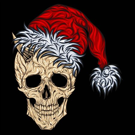 Krampus. New Years skull of Santa Claus in a New Years cap and with horns