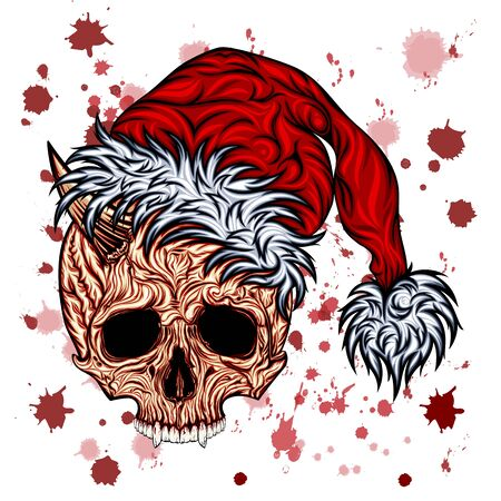 New Year vector skull with splashes of blood