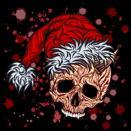Krampus. Vector skull in a New Years cap and with bloody splashes
