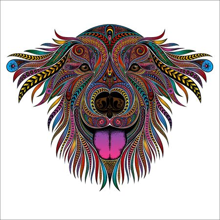 Vector dog with pink tongue from patterns