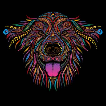 Cheerful vector dog with a pink tongue out of patterns on a black background