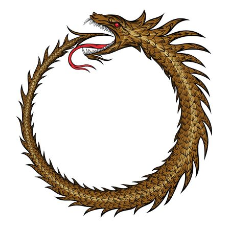 Vector magic symbol of uroboros. A snake curling in a ring biting itself by the tail. Ouroboros Illustration