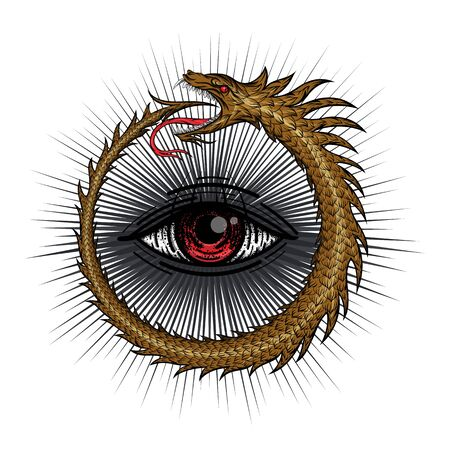 The magic symbol of Ouroboros. Snake in the form of a ring biting its tail and all-seeing eye in the center