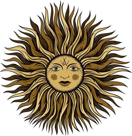 Vector esoteric vintage sun Çizim