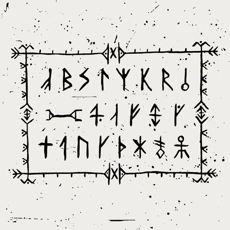 Set of vector Icelandic runes in hand-painted style.
