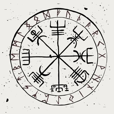 Vegvisir. Protective runic talisman for travelers. Compass for the wandering. Vector illustration