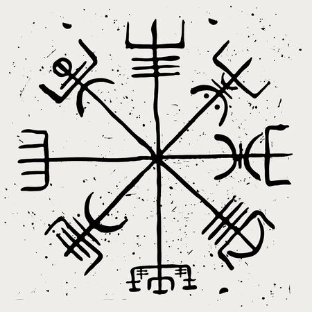 Vegvisir. The Scandinavian runic symbol of travelers and sailors. Vector illustration