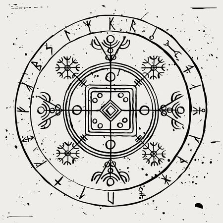 Hulinhjalmur. Runic galdrastafir. Magical sign of invisibility with Icelandic runes in a circle.
