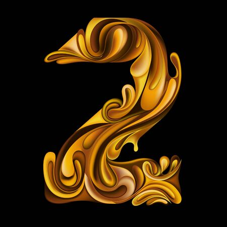 Design element. Vector number 2 in the style of liquid gold