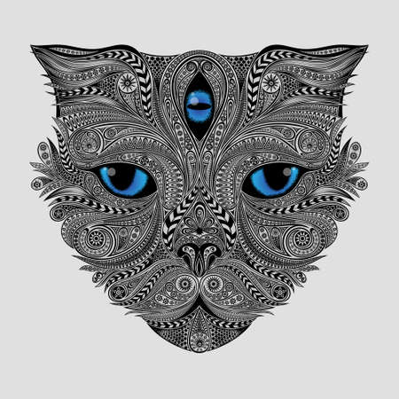 Vector blue-eyed cat with a third eye from patterns in the  style Çizim
