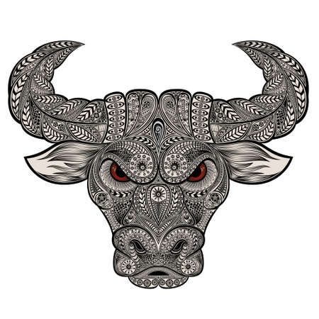 Vector bull from patterns. Symbol of the chinese new year 2021 Ilustração Vetorial