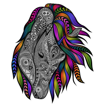Vector unicorn with the colored mane in abstract patterns shape style 矢量图像