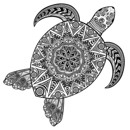 Vector turtle in black and white. Perfect for anti-stress coloring