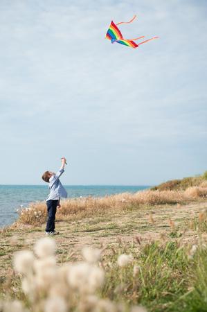 ittle: happy ittle boy holding flying kite on sea background