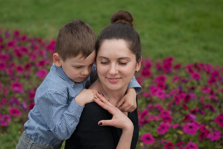 Gentle relations of mother and son Stock Photo