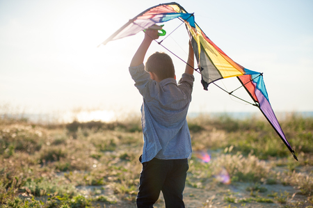 dreamy little boy with big kite in his hands over his head