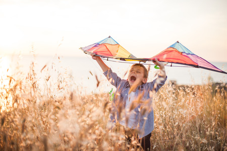 handsome happy shouting little kid with colorful kite among summer outdoor field