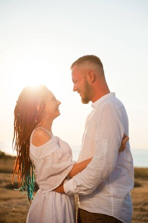 happy smiling couple arabic woman and nordic man love each other Stok Fotoğraf