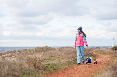 woman wearing hat and warm track suit walking by sea coast with two chihuahua dogs dressed in winter clothes weather conditions in winter or spring Stok Fotoğraf
