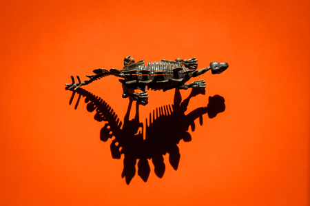 concept of dinosaur plastic skeleton on orange background with deep shadow and copyspace Stok Fotoğraf - 116438063