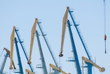 high tower cranes in the sea port on blue sky background Stok Fotoğraf