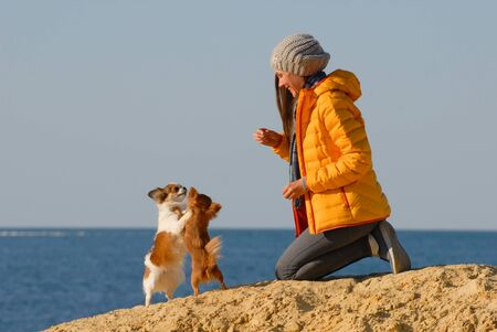 happy young woman dog trainer wearing wool hat and yellow jacket during training activity on autumn sand beach