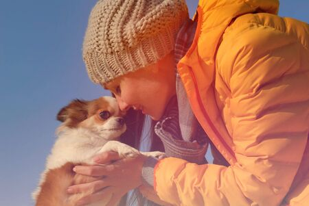 love concept young beautiful delightful woman in woolen hat and yellow jacket holding her sweet little chihuahua pet dog Stok Fotoğraf