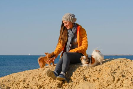 happy beautiful young woman in autumn clothes sitting on sand beach playing with two chihuahua dogs near blue ocean