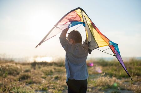 outdoor leisure activity healthy small kid with kite on summer sunset