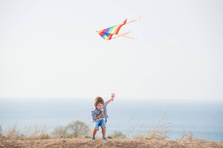 délicieux petit garçon riant tenant un cerf-volant de couleur volante près du rivage et du ciel bleus