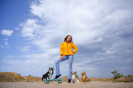 beautiful young lady woman in yellow autumn jacket and blue jeans standing with skateboard and three chihuahua pet dogs on cloudy sky background with copy space Foto de archivo