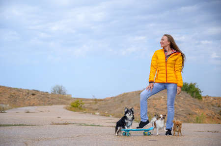 active sport young female in yellow autumn jacket and blue jeans standing with skateboard and three chihuahua pet dogs on cloudy sky background with copy space