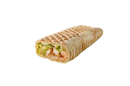 shawarma filled with chicken meat and green salad lettuce on on white isolated background Stock Photo
