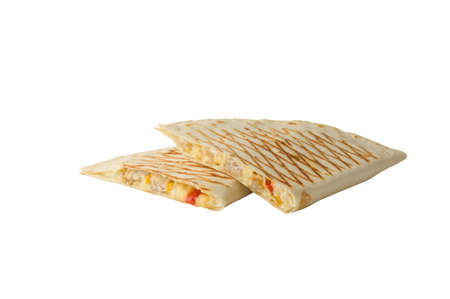 two pieces of mexican quesadilla fast food on white isolated background with copy space