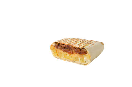 traditional mexican cuisine dish otacos with cheese potato and fried beef meat filling sauce tortilla cut on white isolated background