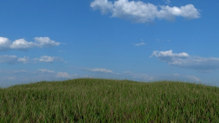 Grassy Hill With Blue Sky Background, Realistic 3D Render