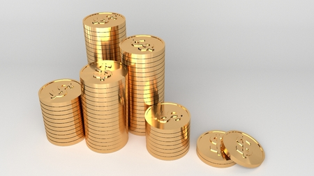Gold dollar coins stacked on white background. 3D render.