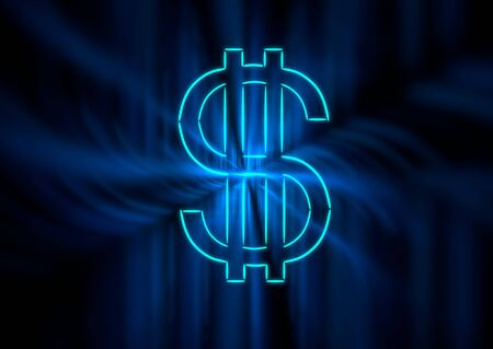 A dollar symbol in blue neon with light ghost rays.